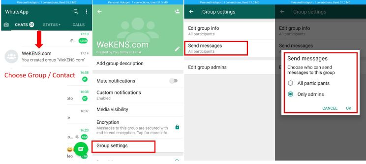 Enable sending only admin messages to Whatsapp group