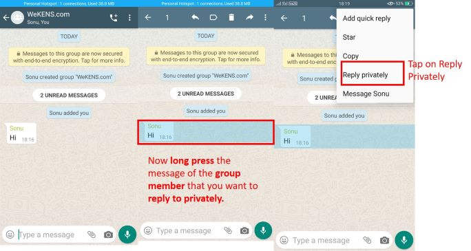 Reply Private in WhatsApp Groups