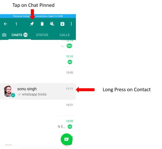 Use pin to top in WhatsApp