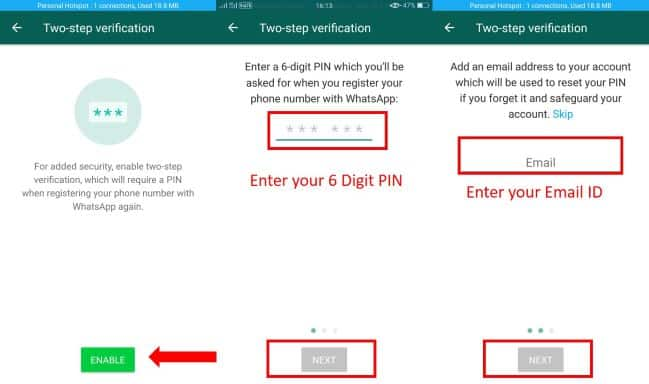 Whatsapp Two Step Verification enabled