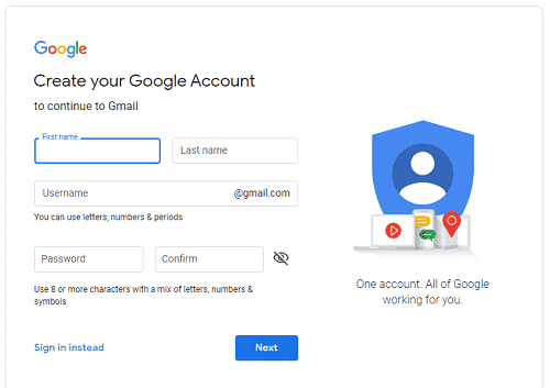 create your google account form